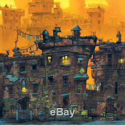 30Wx12H THE BLOCK by JUSTIN BUA CITYSCAPE GHETTO STREET SCENE CANVAS