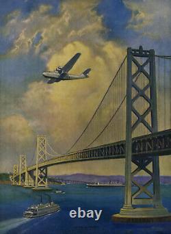 30s Ruehl Heckman Machine Age Spirit of Progress Print Aviation Bay Bridge Plane