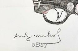 Andy Warhol Original Hand Drawn And Signed Gun Colored Pencil On Heavy Paper
