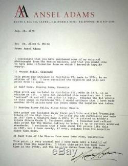 Ansel Adams Vintage Maroon Bells Colorado 1974 Gelatin Silver Print Signed COA