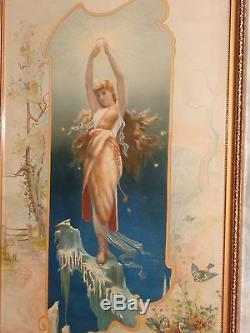 Antique Art Nouveau Lady Fairy Advertising Domestic Sewing Machine Print Orig