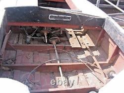 Antique Hardwood Boat Old Original With Small Engine Rudder Steering Etc