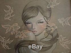 Audrey Kawasaki Carry On RARE GALLERY FRAMED edition JAPAN ONLY