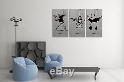 Banksy Collage Stretched Canvas Triptych Print 48x30. BONUS BANKSY WALL DECAL