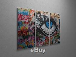 Banksy Don't Let Us Dream Stretched Canvas Triptych Print 48x30