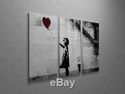 Banksy Girl With Balloon Stretched Canvas Triptych Print 48x30. BONUS DECAL