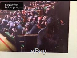 Banksy Monkey Devolved Parliament poster/print Bristol Museum kept flat framed