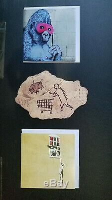 Banksy Peckham Rock Wooden Sculpture + Gorilla + Well Hung Man postcard Bristol