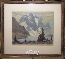 Barbara Leighton'30s Color Woodcut Moraine Lake Listed Alberta Canadian Artist