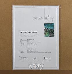 Bob Dylan Hand Signed Artwork. Train Tracks (Green) June'08 Medium Drawn Blank