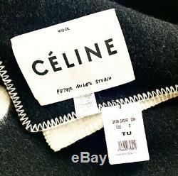 CELINE Limited Edition PETER MILES ARTIST PRINT FW18 BLANKET PONCHO COAT