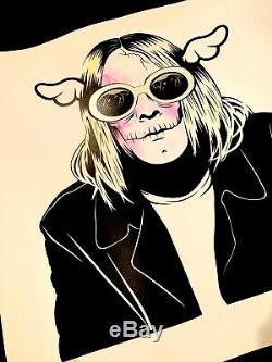DFACE Kan't Complain Print Signed Hand Finished DFACE Kurt Cobain Nirvana x/100