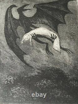Edward Gorey Original Etching Night Creature Carrying Baby Aloft VERY RARE