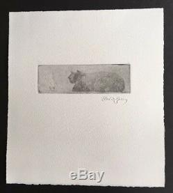 Edward Gorey Spectral Child Appears Before the Big Cat Etching RARE