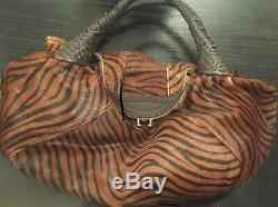 Fendi Spy Bag Animal Print Leather Hobo Medium Purse