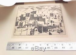 GENE KLOSS South House Taos Pueblo Etching Signed