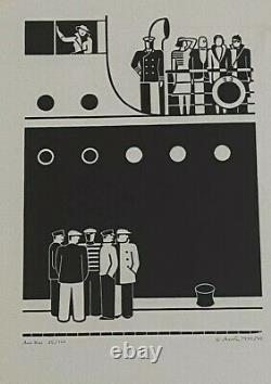 Gerd Arntz Am Kai Linolschnitt 1935/1975 handsigniert datiert und numm. 85/120