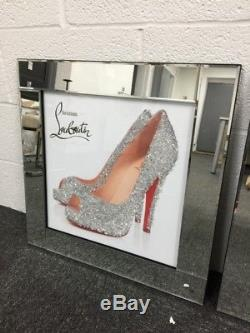 Glittery Louboutin Shoes Silver Mirror Frame 60cm Picture Decor 3D Wall Art