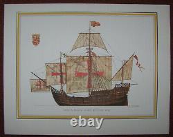 H A Muth Siebdruck Bütten Karton antik Schiffe Schuler Verlag Stuttgart 1969 6x