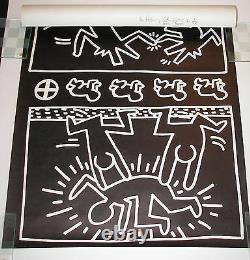 HARING DRAWINGS EXHIBIT'82 POSTER-HARING SIGNED with BARKING DOG & MAN DRAWING