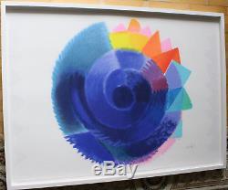 Heinz Mack ZERO Rotation museales Kunstwerk sehr groß und farbintensiv gerahmt