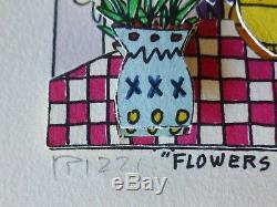 James Rizzi FLOWERS FOR MY LOVE 1989 3D Blumen fuer meine Liebe Handsigniert