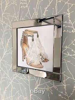 Jimmy Choo Feather Shoe Silver Mirror Frame 60cm Picture Decor 3D Wall Art