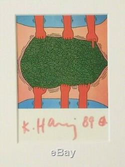 KEITH HARING Untitled (1985) FRAMED SIGNED FINE ART POSTCARD RARE