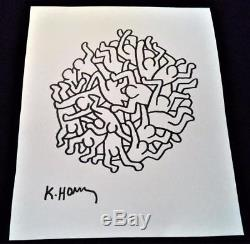 Keith Haring Original Hand Drawn & Signed Party Of Life Ink On Paper