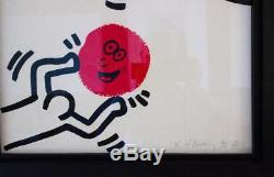 Keith Haring Signed Print with COA ltd edition of 90 like Basquiat Banksy Art