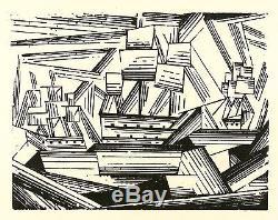 LYONEL FEININGER Kreuzende Segelschiffe II (Segler) Holzschnitt 1919
