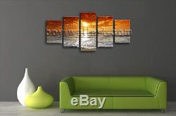 Large Stretched Canvas Prints HD Red Beach Sunset Glow Framed 5 Pcs Wall Art