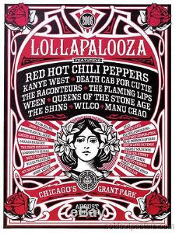 Lollapalooza 2006 Shepard Fairey poster Print Chicago Obey Kanye RHCP Wilco