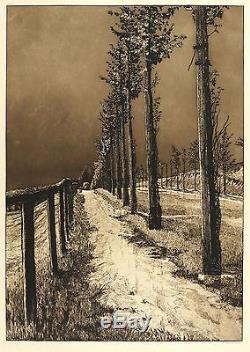 MAX KLINGER Landschaften (Opus VII) Chaussee Aquatinta & Kaltnadel 1883