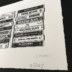 Mark Drew RAP (HARD TO EARN) Letterpress Art Print S/N Retro Tapes Hip-Hop Obey