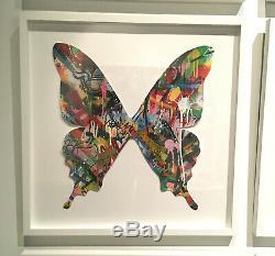 Martin Whatson Butterfly Cutout Hand Painted Signed Original Art Piece Framed