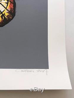 Martin Whatson Signed Orange Butterfly Revive Print Street Art Poster Dface Kaws