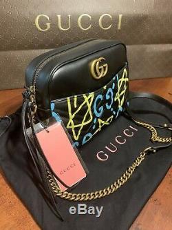 NEW Gucci Apollo Shoulder Bag Gucci Ghost Graffiti Print Black Leather