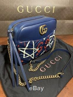 NEW Gucci Apollo Shoulder Bag Gucci Ghost Graffiti Print Blue Leather