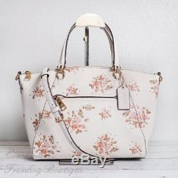 NWT Coach 91603 Leather Prairie Satchel with Rose Bouquet Print in Chalk