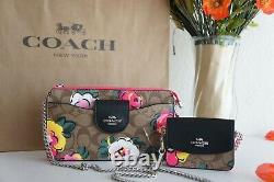 NWT Coach C5894 Poppy Crossbody In Signature Canvas With Vintage Rose Print $328