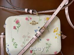 New COACH Mini Camera Bag In With Spaced Wildflower Print Chalk Multi