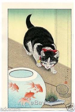 OHARA KOSON Shoson JAPANESE Woodblock Print SHIN HANGA Cat & Goldfish Bowl