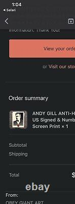 Obey Giant Andy Gill Anti-Hero US Signed & Numbered Screen Print (311/400)