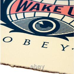 Obey Giant Wake Up Earth Letterpress Signed Numbered Shepard Fairey