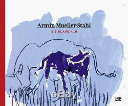 Orig. Farbradierung Armin Mueller-Stahl Die blaue Kuh im Grünen handsigniert