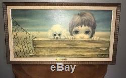 Original 1963 Margaret Walter Keane Beachhead Big Eyes Print Framed Art OBO
