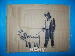 Original spray graffiti free art un signed plus free Dismaland Banksy flyer