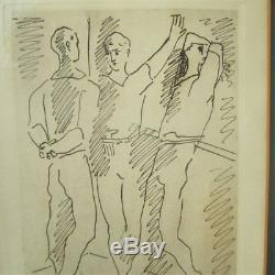 Pablo Picasso Etching Three Ballet Dancers Original Artist Pencil Signed Frame