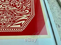 Peace Fingers Red Shepard Fairey Obey Print Signed & Numbered 18 x 24 inch